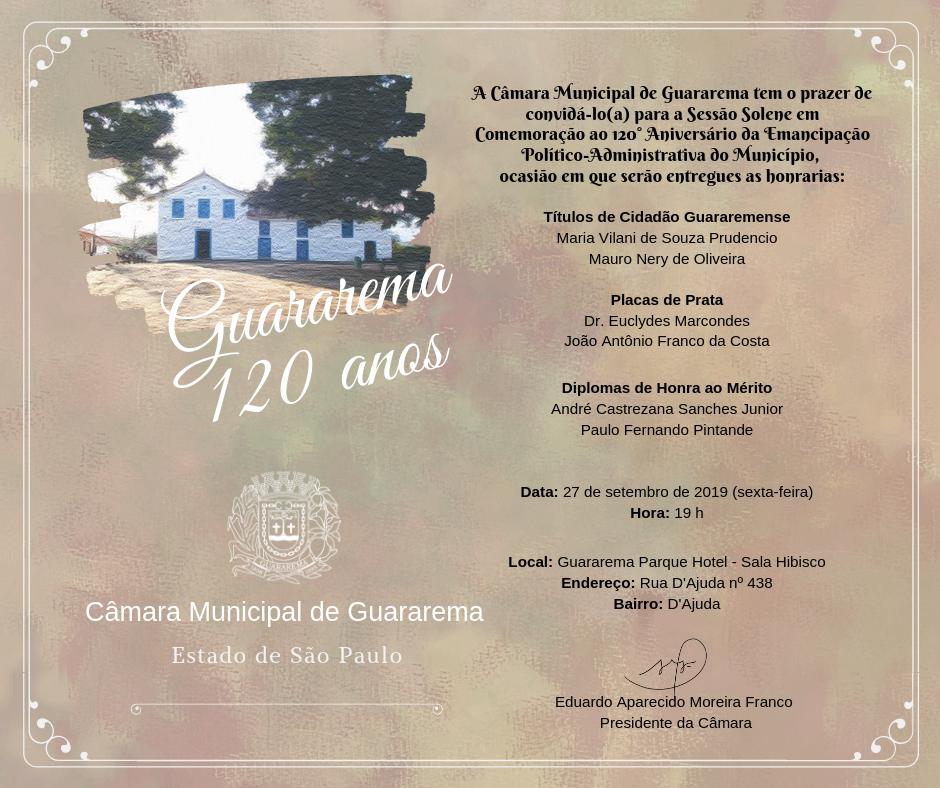 Câmara realiza Sessão Solene em Comemoração aos 120 anos de Guararema
